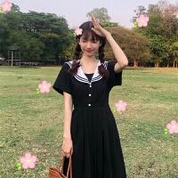 裙子女学生韩版连衣裙夏季中长款少女海军领超仙百褶仙女裙潮 图片色