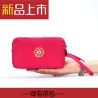生活手拿包大容量纯色钱包女长款帆布零钱包布艺拉链大屏手机包袋手包