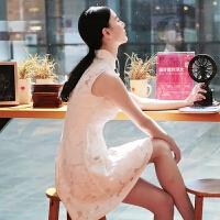 预售【魅儿】白雪公主日记 原创无袖白色旗袍公主裙改良时尚2018夏GH118 裙+送小吊带裙