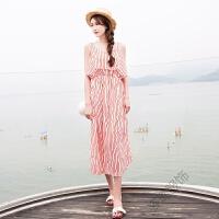 波西米亚吊带露肩夏季雪纺海边度假沙滩裙长裙条纹连衣裙海滩裙女 红白条纹 现货