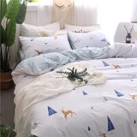 水洗棉四件套床上用品无印风格良品家纺床单被套