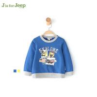 【每满100减50】Jeep童装 男小童纯棉卡通卫衣幼儿童休闲套头衫绒衫上衣秋新