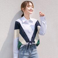 白色衬衫女学生韩版宽松长袖秋装夏季港风学院风上衣衬衣