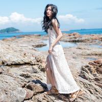 原创沙滩裙海边度假气质包臀裙礼服裙白色开叉吊带露背镂空蕾丝连衣裙GH032 白色