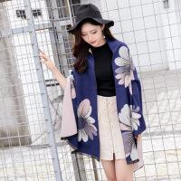茉蒂菲莉 大披肩 仿羊绒女士围巾韩版秋冬季新款大花朵加厚保暖长款空调大披肩两用