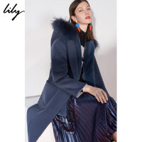Lily春秋新款女装两穿含马甲连帽中长款毛呢大衣118450F1533