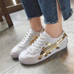 乌龟先森 休闲鞋 女式平底系带小白鞋子学生2018春季新款韩版低帮鞋厚底皮面单鞋