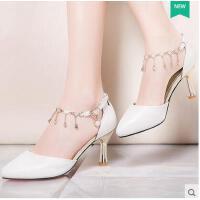 莫蕾蔻蕾高跟鞋女夏季新款百搭时尚韩版中跟一字扣细跟尖头英伦风女鞋 70205