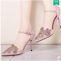 莫蕾蔻蕾高跟鞋夏季新款性感高跟女鞋婚鞋亮片细跟单鞋百搭一字带包头 70153