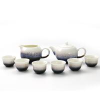 乾唐轩活瓷小圆融茶具1壶6杯带茶海活瓷雪晶釉茶具功夫茶具茶壶茶海茶杯礼盒