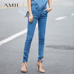 【大牌清仓 5折起】Amii[极简主义]春秋新品百搭实穿显瘦长款牛仔裤11764133