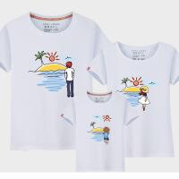 亲子装夏季全家装一家三口四口装母子母女装童装短袖T恤班服上衣