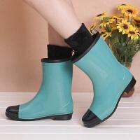 新款时尚中高筒雨鞋女春夏秋冬雨靴水鞋可加绒袜保暖水靴