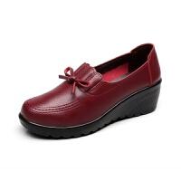 工作鞋女士皮鞋中跟鞋子妈妈鞋单鞋软底女舒适黑色坡跟厚底春秋款