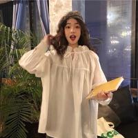 2019秋季韩版女装学生宽松细带长袖打底衬衫薄款气质白衬衣潮 S 建议80-95斤
