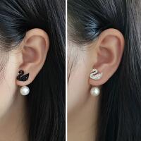 银黑天鹅真珍珠耳钉女气质韩国个性耳环时尚耳坠银耳饰