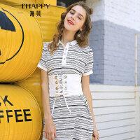 海贝夏季新款女装甜美宽松套头短袖条纹撞色polo领连衣裙中裙