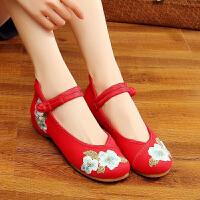 老北京舞蹈鞋牛筋软底布鞋民族风绣花鞋低跟百搭白色系带古汉鞋女 红色 淡雅牡丹红色