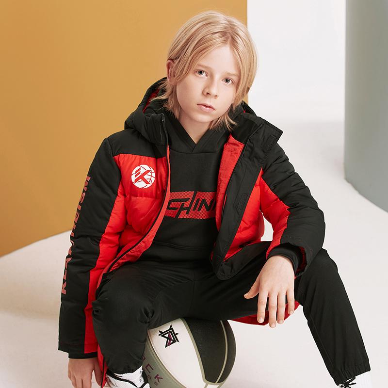 安踏儿童羽绒服2020冬新款男童连帽保暖中长款羽绒外套 35011971