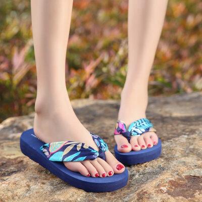 韩版女式波西米亚时尚人字拖夏季夹拖坡跟厚底夹脚沙滩鞋凉拖鞋拖