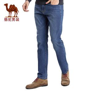 骆驼男装 新款时尚男士商务休闲长裤子拉链直筒牛仔裤男