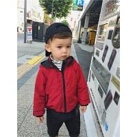 男童秋冬装宝宝夹薄棉外套红色儿童连帽风衣