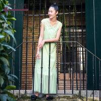 生活在左春夏季新品女装无袖中长裙子文艺小清新两件套连衣裙女