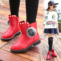 女童短靴加绒公主鞋2017秋冬新款女孩中筒靴棉鞋防滑学生马丁靴子