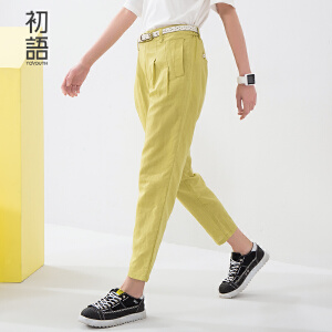 初语夏季新品 绣花小鱼条休闲微宽九分裤女8622202033