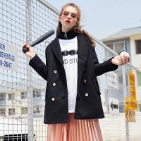[2件1折99.9元]唐狮冬装新款外套女式中长款双排扣呢子大衣外套显瘦韩版潮