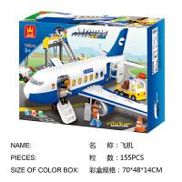 万格儿童益智玩具塑料飞机拼装大颗粒积木男女孩1-2-3-6周岁宝宝