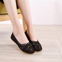 夏季老北京布鞋女士透气浅口网鞋单鞋蕾丝镂空蛋卷女鞋平底豆豆鞋