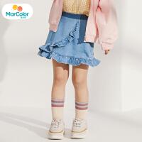 【1件2折】马卡乐童装22春新款女宝宝荷叶边半身裙松紧腰女童牛仔裙子