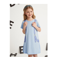 【抢购价:29】笛莎童装女童裙子2021夏季新款中大童儿童女孩洋气创意印花连衣裙