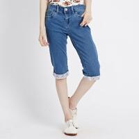 【狂欢返场,专区1件3折】美特斯邦威女装翻脚口修身直筒牛仔中裤255615