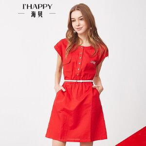 海贝夏季新款女装 纯色圆领字母印花翻边短袖收腰连衣裙中裙