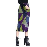 秋冬毛呢包臀裙半身裙中长款高腰修身一步裙单排扣长包裙