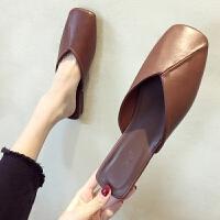 ins潮拖鞋女2019夏季新款方头平底包头半拖鞋韩版女士外穿穆勒鞋