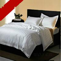 宾馆酒店旅馆医院床上用品布草缎条贡缎提花枕套床单被套三四件套