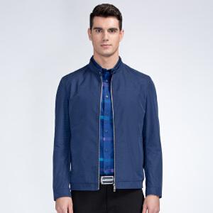 才子男装(TRIES)夹克 男士2017新款深蓝色纯色休闲简约百搭休闲夹克