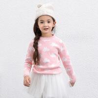 【满200减100 上不封顶】amii童装冬新款女童毛衣中大童圆领套头上衣儿童提花针织衫