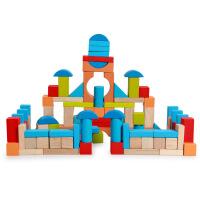 外贸原单 木制英国早教ELC100粒实木积木 布袋积木 儿童益智玩具