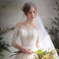婚纱礼服2018新款韩版新娘结婚一字肩长袖蕾丝拖尾修身齐地春夏季 +三件套