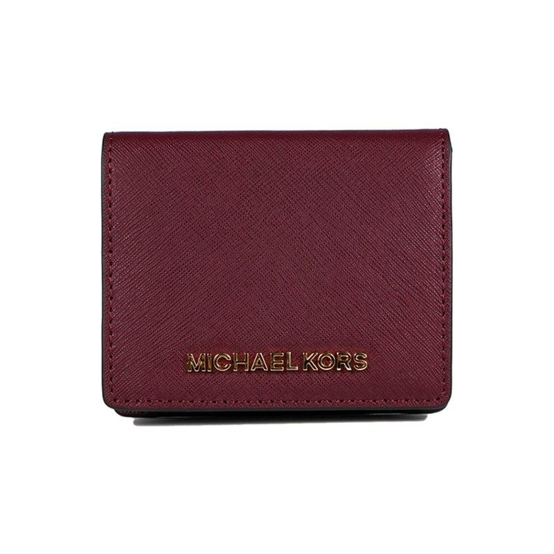 【意大利直邮】 Michael Kors MK短款十字纹钱包 酒红色