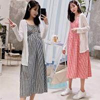 2019新款韩版时尚孕妇连衣裙两件套中长款孕妇吊带裙孕妇夏装裙子