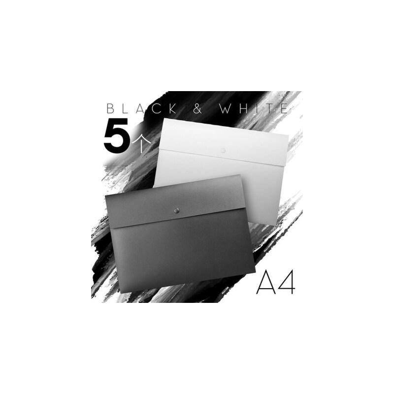 a4按扣文件夹学生用试卷收纳袋透明塑料资料公文商务袋防水合同档案 极简风 特厚文件袋 5个装