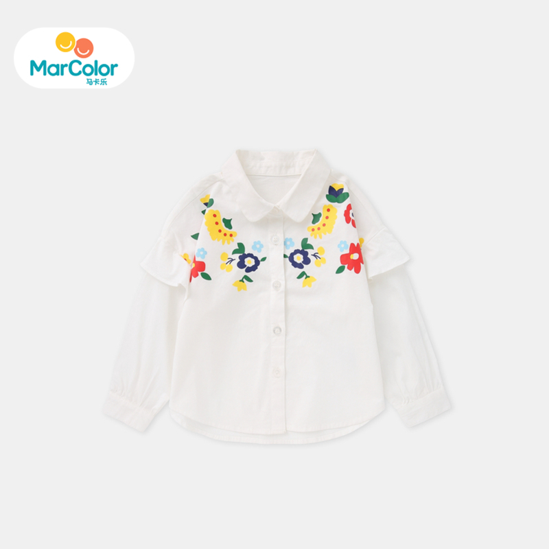 马卡乐童装女宝宝2019秋季新款女童翻驳领花卉刺绣长袖衬衣