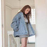 牛仔外套女春秋季潮2019学生韩版宽松bf薄款上衣短款工装夹克 浅蓝色