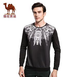 骆驼&熊猫联名系列男装 时尚圆领青年动物图案修身长袖T恤衫潮男