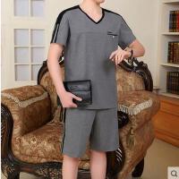 男士运动套装 中老年跑步休闲运动服 中老年短袖短裤大码装